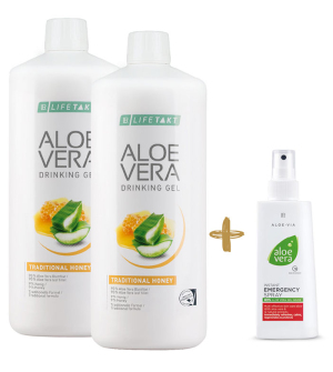 LR LIFETAKT Aloe Vera Feel Good Box Traditional s medem 2 x 1l + Zdarma 1 x Aloe Vera Sprej první pomoci - 150 ml