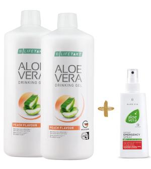 LR Aloe Vera Feel Good box broskev 2 x 1l + Zdarma 1 x Aloe Vera Hydratační gelový koncentrát - 100 ml
